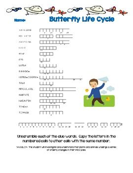 Butterfly Life Cycle Word Scramble | all things kids | Pinterest