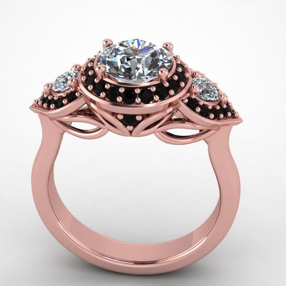 Rose gold black diamond ring engagement rose gold ring style 111RGB…