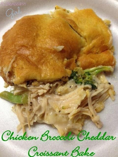 Chicken Broccoli Cheddar Croissant Bake