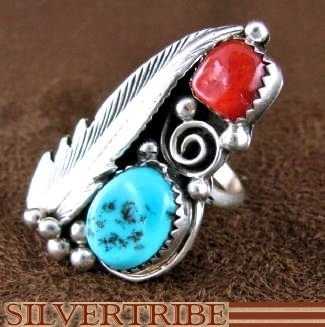 Navajo Indian Sterling Silver Sleeping Beauty Turquoise And Coral Ring Size 5-3/4 RS48593