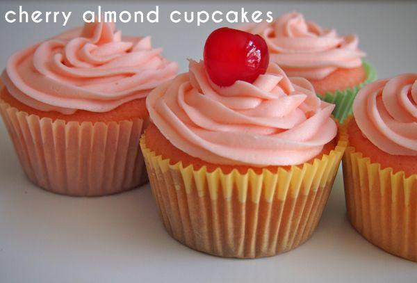 Cherry Almond Vanilla Cupcakes   Delish!   Pinterest