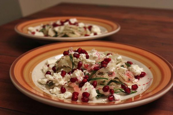 Fennel and Feta with Pomegranate Seeds and Sumac / Couscous with ...