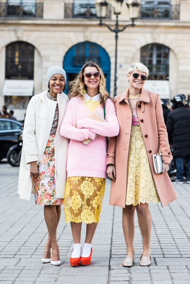 Tamu McPherson, Natalie Joos and Elisa Nalin wearing Spring '13 in Paris.