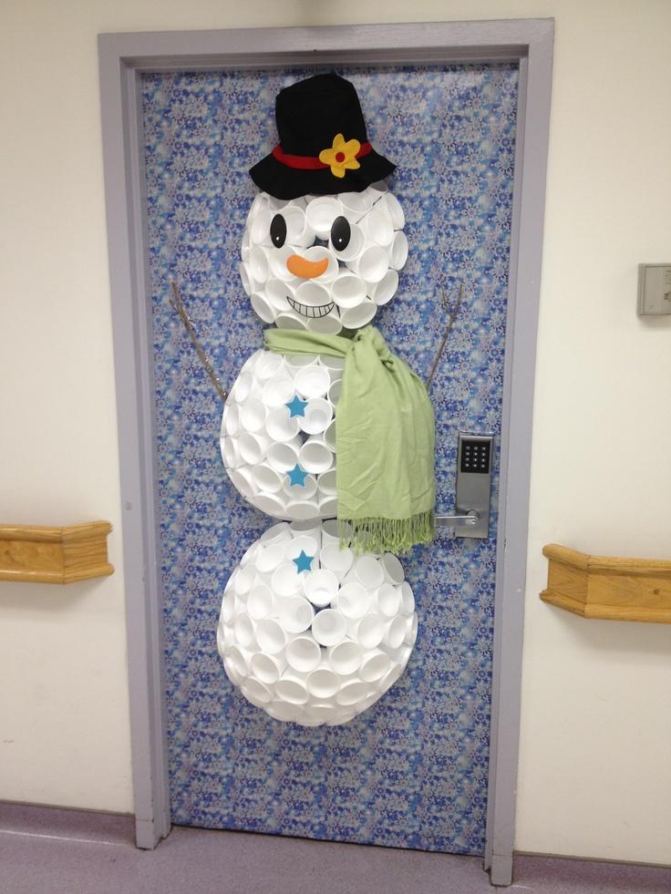 Snowman door decoration craft ideas pinterest for Snowman design ideas