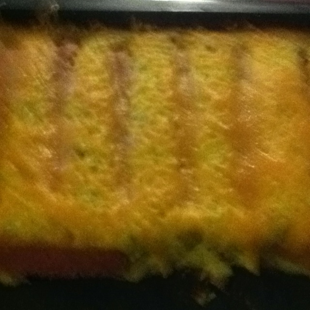 Corn dog casserole....dice 6 jalapeno peppers and one onion, sautee ...