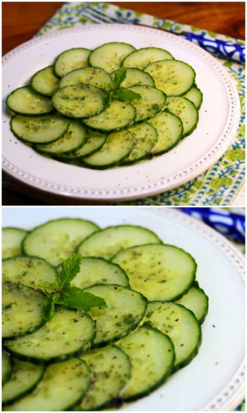 Cucumber salad with roasted lemon, mint and basil dressing | Recipe