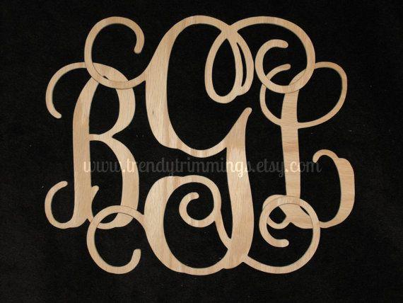 12 Wooden Monogram Interlocking by TrendyTrimmings on Etsy, $30.00