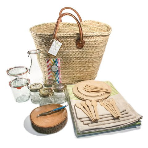 Wedding Gift Picnic Basket : Picnic Basket for 4: Includes Large Woven Basket w/leather handles ...