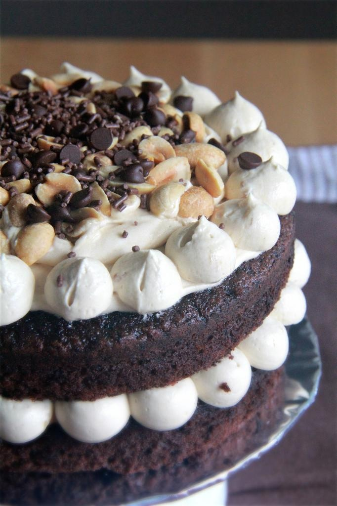 - milk chocolate cake with peanut butter filling and vanilla peanut ...