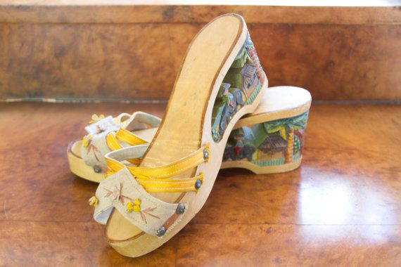 1940's Shoes // Carved Painted Wood Wedge Sandals by GarbOhVintage