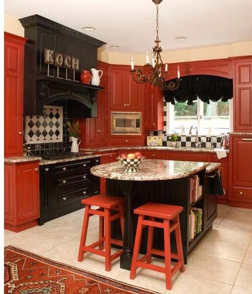Black And Red Kitchen No Place Like Pinterest