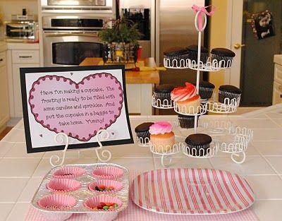 cupcake birthday party.  Cupcake decorating station!