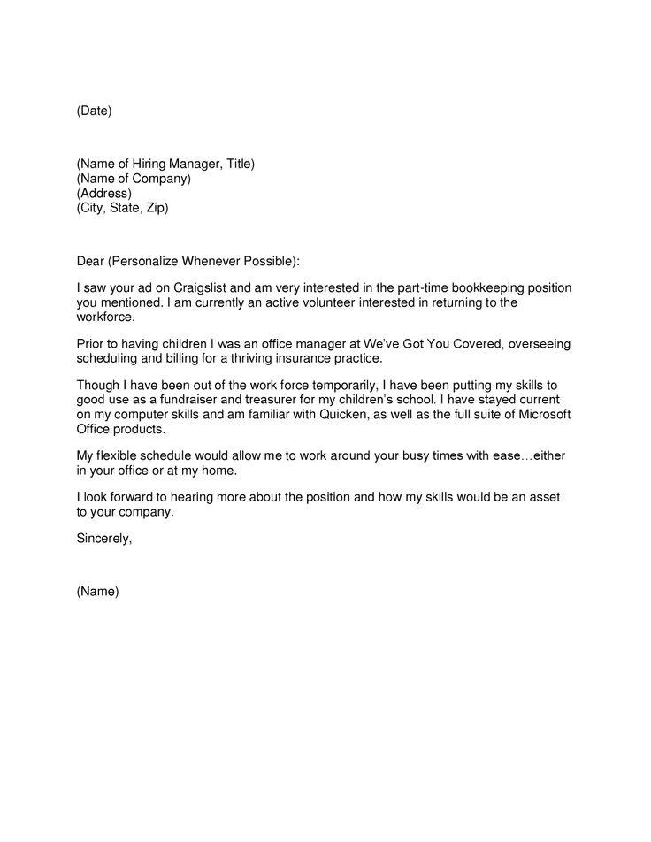 Cover Letter Bookkeeper | Resume CV Cover Letter