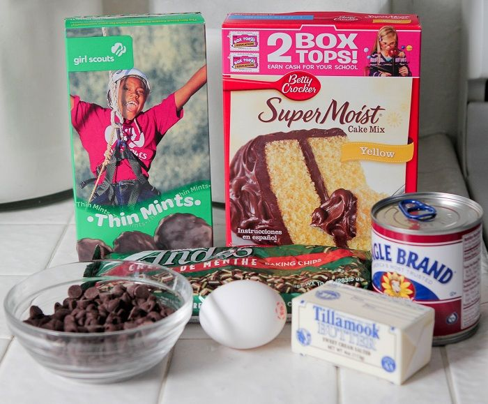 Girl Scout CookieThin Mint Gooey Cake Bars - Picky Palate