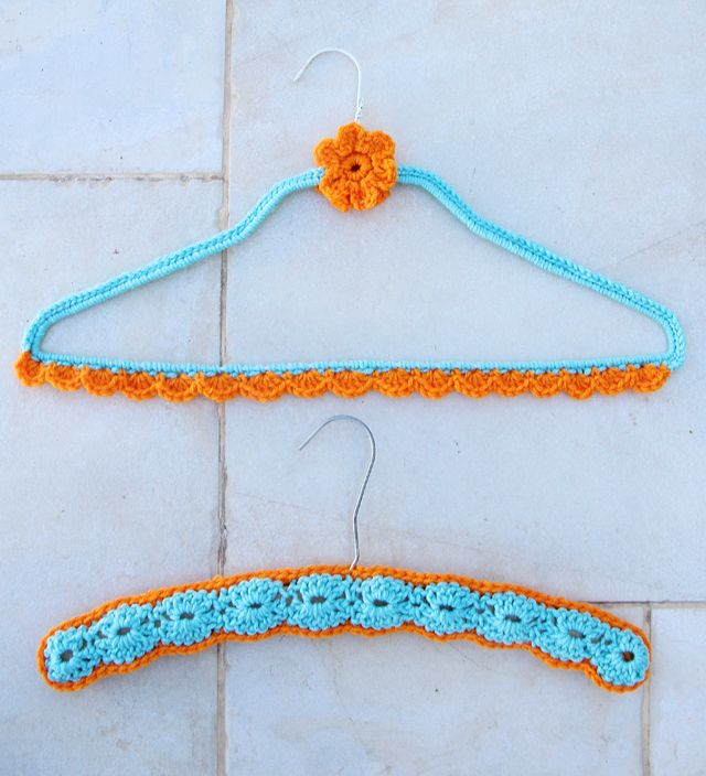 Crochete Wire Hanger cover with wood hanger