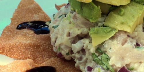 Wasabi Tuna Tartare with Hoisin Won Ton Crisps - BrokeAss Gourmet