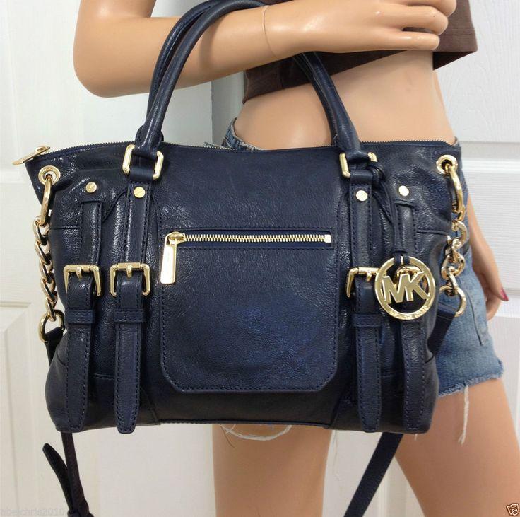 Navy Blue Leather Crossbody Bag 105