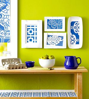 Easy wall art with bargain-priced white platters. See this idea and more DIY wall art: http://www.midwestliving.com/homes/decorating-ideas/diy-wall-art/
