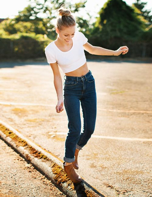 Crop top high waisted jeans u0026 booties. | Outfit | Pinterest