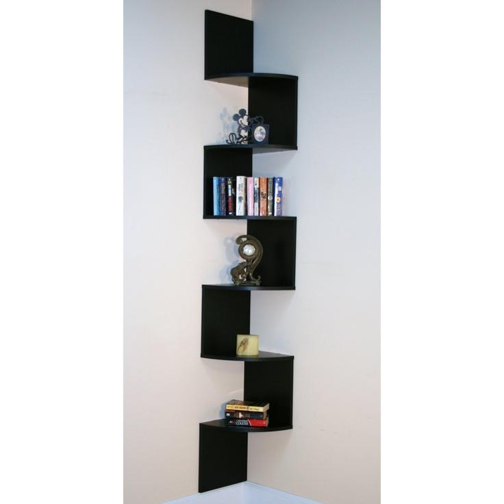Premier 6 Shelf Corner Bookcase - Black  Modern Home Furnishings  P ...