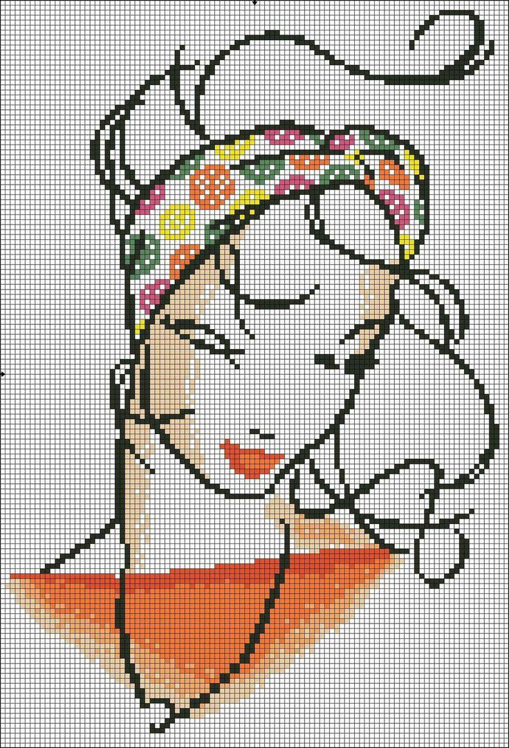 Схема вышивания девушки