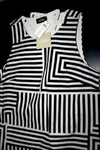 Kate spade saturday summer dress zig zag stripe black and white vacat
