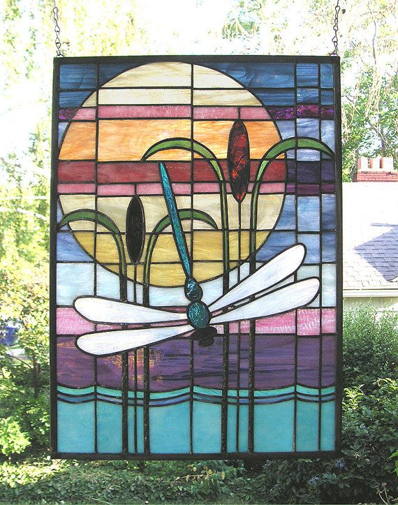 Arts and crafts style dragonfly sunset 16 quot x 22 quot stained glass window