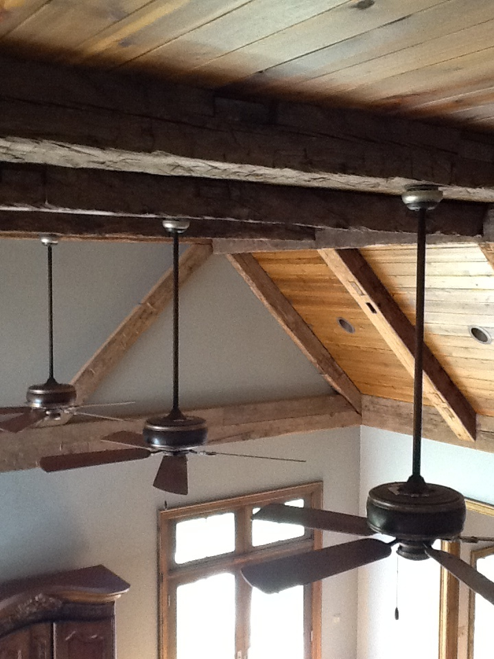 Barnwood beams wood ceiling cabin kitchen pinterest for Exposed beam vaulted ceiling