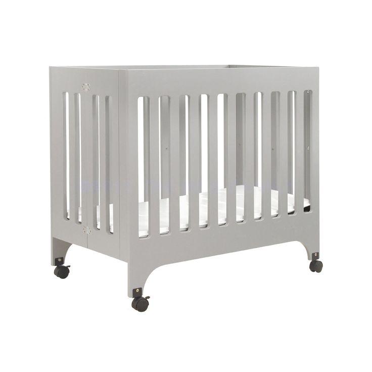Babyletto Grayson Grey Mini Crib with Pad