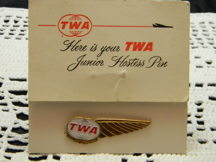 Vintage TWA Junior Hostess Pin metal with original card.