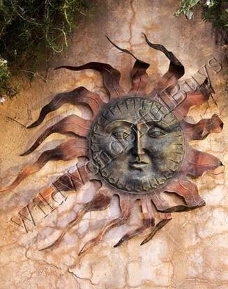 large copper outdoor sun face wall art garden decor