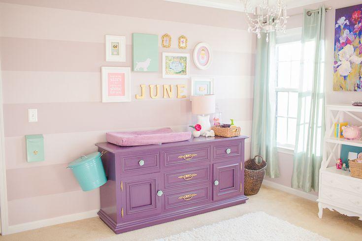 Purple and Mauve Striped Nursery Wall