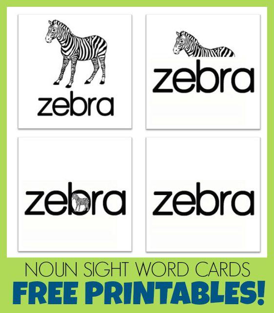 free printable sight word cards: Zebra! | Word Study | Pinterest