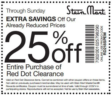 Stein Mart: 25% off Printable Coupon | Coupons | Pinterest