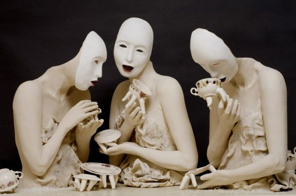 Figurative ceramics - love these - looks like a Butoh performance