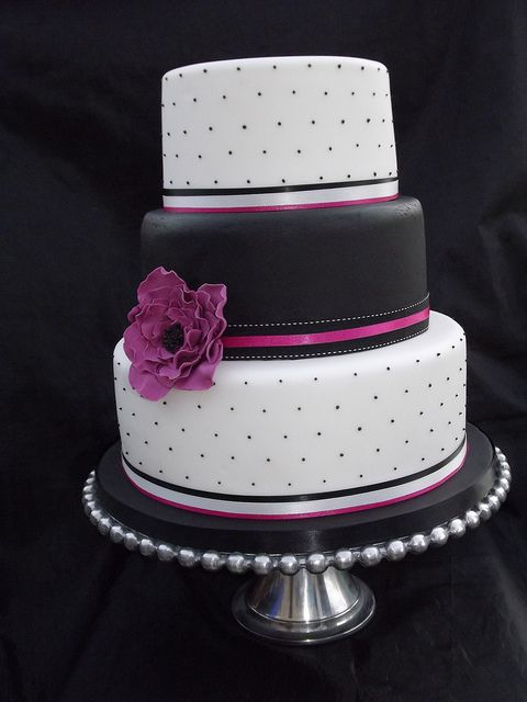 Hot Pink and Black Wedding Cake by cakes by samantha, via Flickr