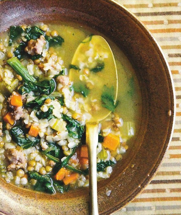 Brown Rice, Lentil, and Spinach Soup   food   Pinterest