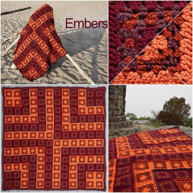 Sue Solakian's Embers #afghan in Red Heart With Love and Super Tweed. #autumn #crochet #blanket