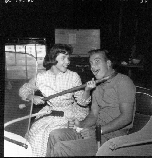 William Shatner on set Twilight Zone with costar Patricia Breslin. (1963)