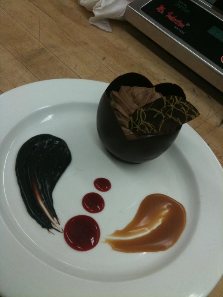 Chocolate moose, chocolate, caramel and raspberry sauce