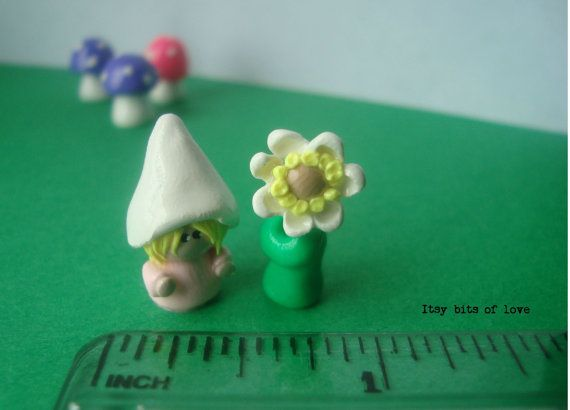 Tiny girl gnome and wild flower mini gnome gardens tiny figurines