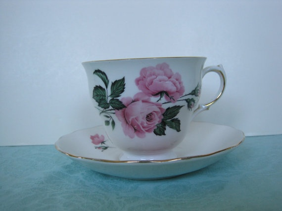 Queen Anne Fine Bone China Coffee / Tea Cup and by VintageCorner2, $18.99