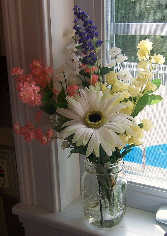 Country floral arrangement in mason jar misc floral for Mason jar flower arrangement ideas