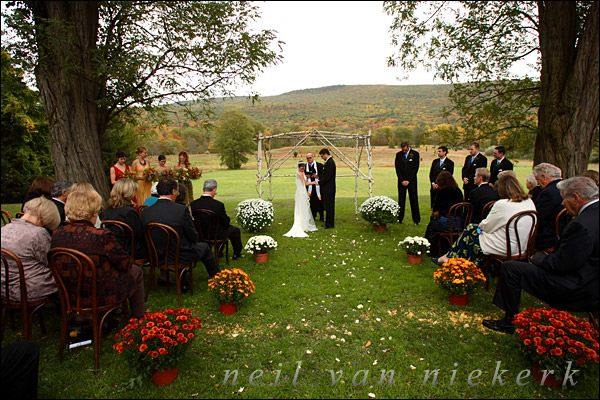 Outdoor Ceremony Ideas Potted Mums To Accent The Chair
