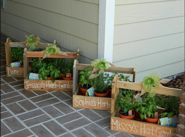 Hostess gift for one of my bridal showers wooden herb garden