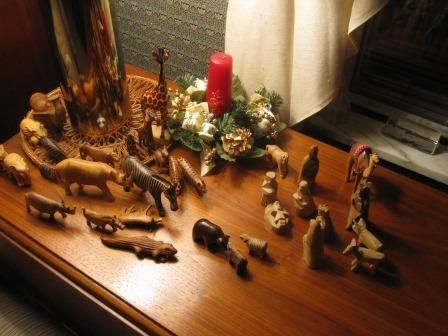 Baby Jesus is born in a barn , but had all the animals come to worship him in our Bethlehem scene.