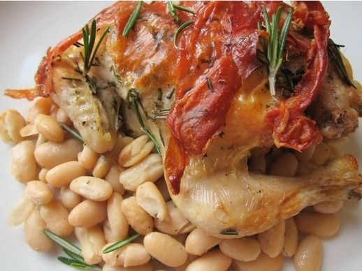 Cornish Game Hens with Prosciutto and Rosemary with White Beans | Rec ...
