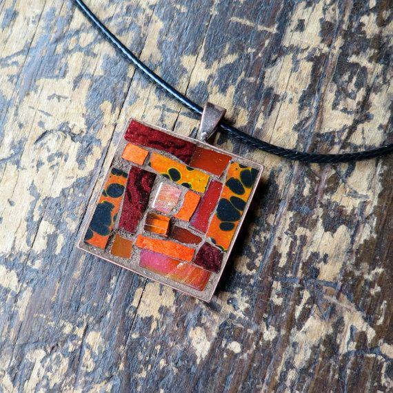 Orange Animal Print Mosaic Pendant by Margaret AlmonOrange Animal Print