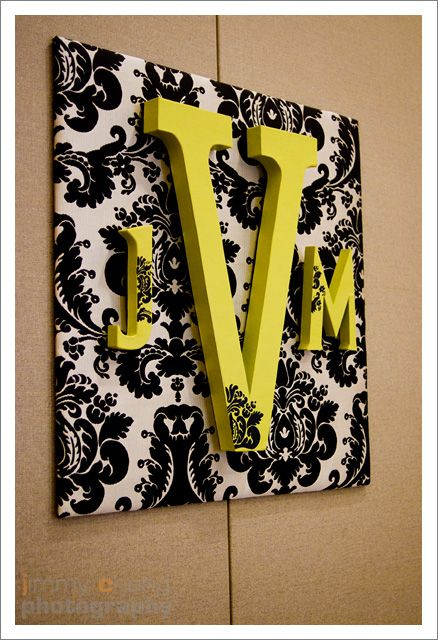 Wooden initials on fabric covered base bathroom