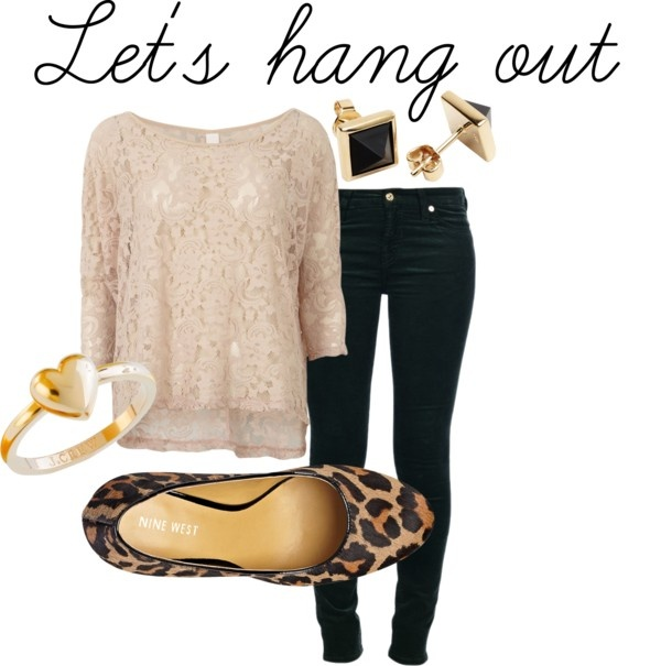 Date Outfit-black jeans ,earrings and leopard shoes